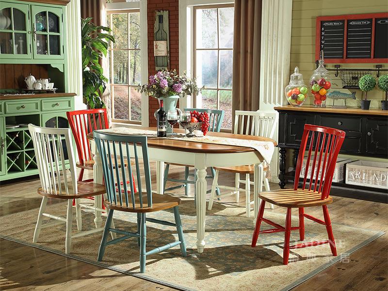 90空间家具·爵典家居 美式(地中海)餐厅实木餐桌椅(1桌6椅)