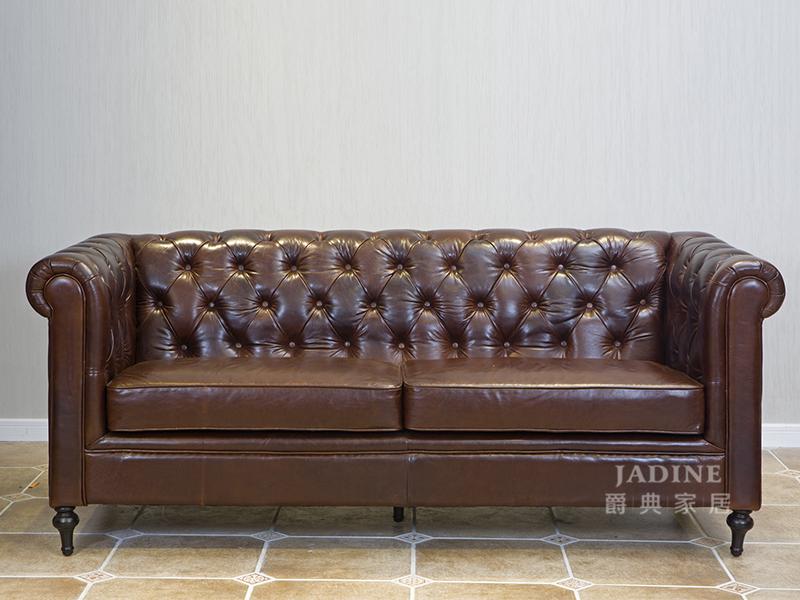 90空间家具·爵典家居 美式(简美)客厅真皮三人位沙发