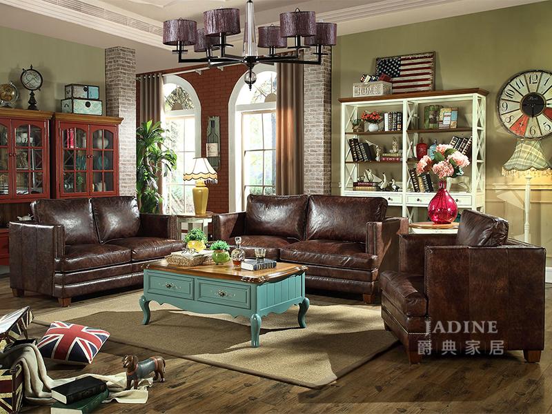 PULASKI家具·爵典家居 美式客厅1+2+3真皮沙发