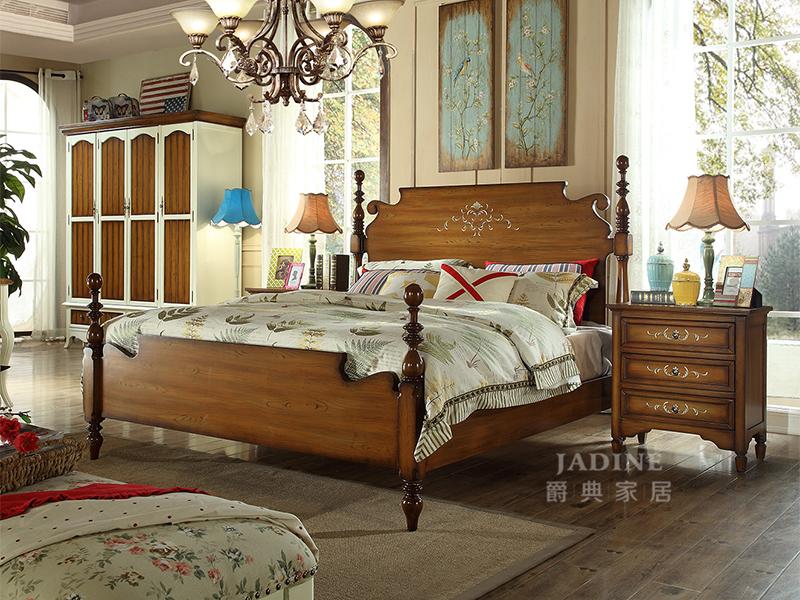 PULASKI家具·爵典家居 美式乡村简约卧室实木高档婚床