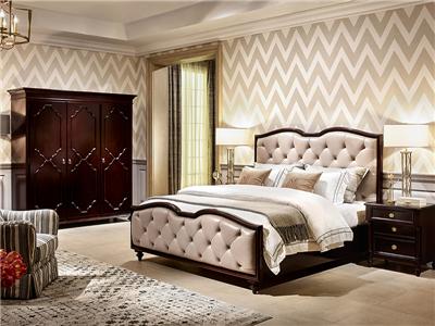 优胜美地V5·爵典家居美式卧室真皮实木双人床