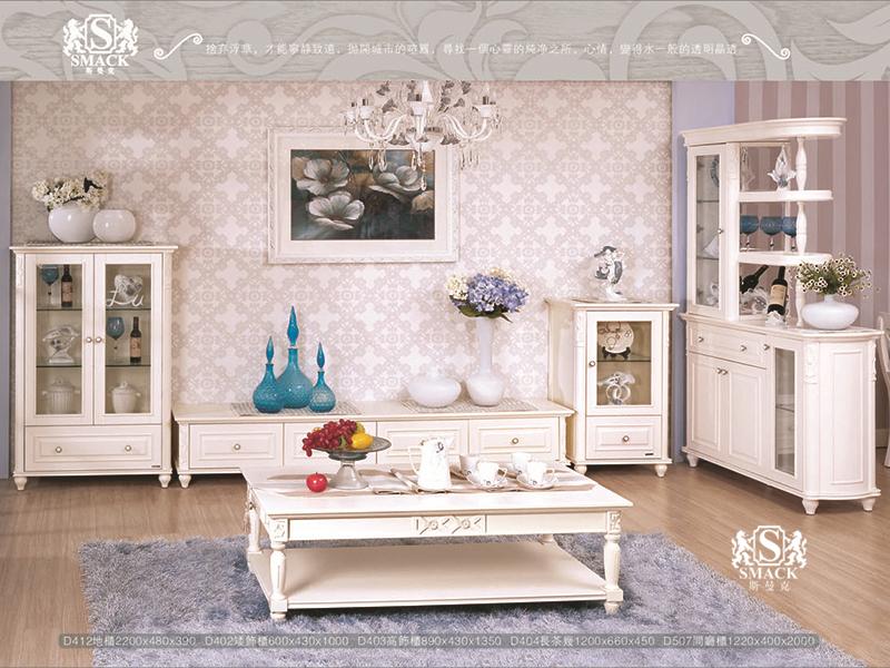 君诺·斯曼克家具欧式简欧白色客厅D412地柜/C402装饰矮柜/C403装饰高柜/d507间厅柜
