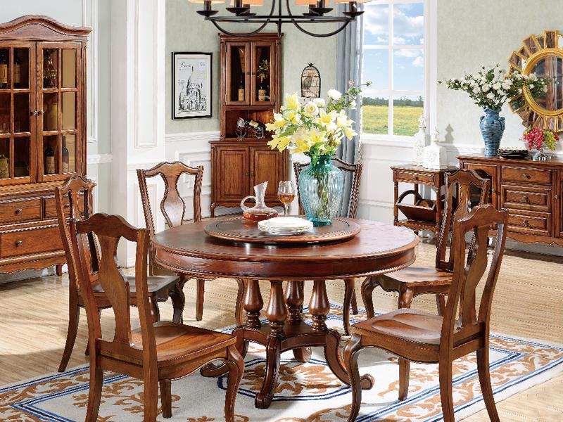 美伦卡家具美式餐厅实木圆餐台C8616/C8617餐椅/餐边柜/展示柜/角落柜/书报架