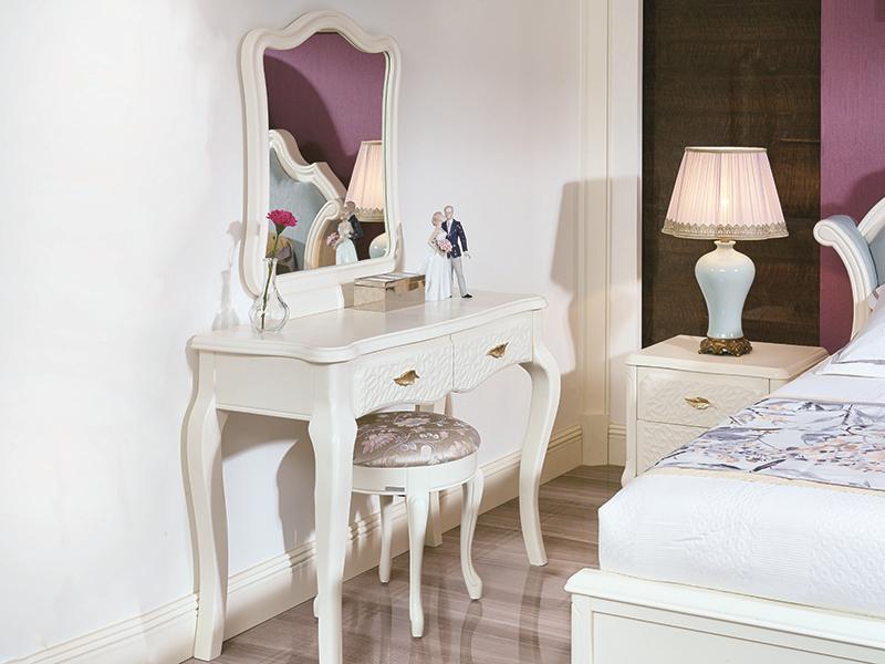 君诺家居·斯曼克家具欧式简欧白色卧室桦木L103妆台/妆镜/H106A妆凳