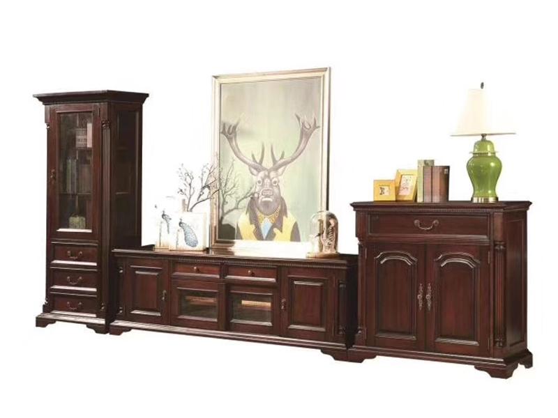榞野美墅家具 美式客厅金丝木纯实木多功能电视机柜组合