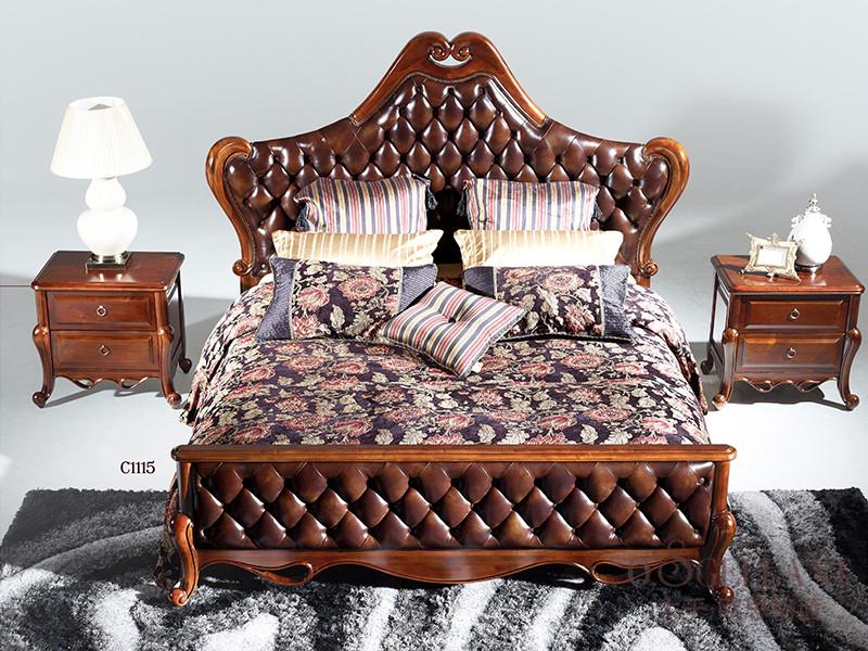 君诺家居·欧思格蓝家具美式新古典卧室樱桃木实木C115双人床/床头柜组合