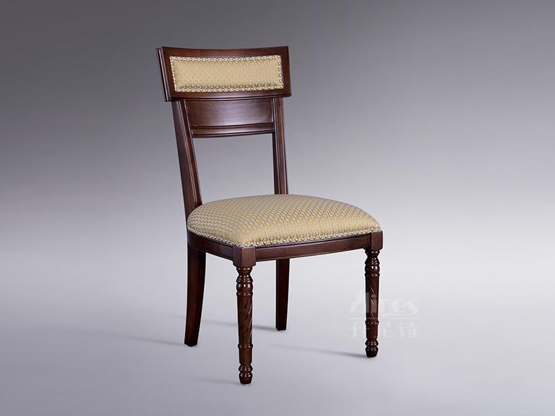 君诺家居·丹尼诗家具轻奢餐厅桃花芯木实木布艺餐椅