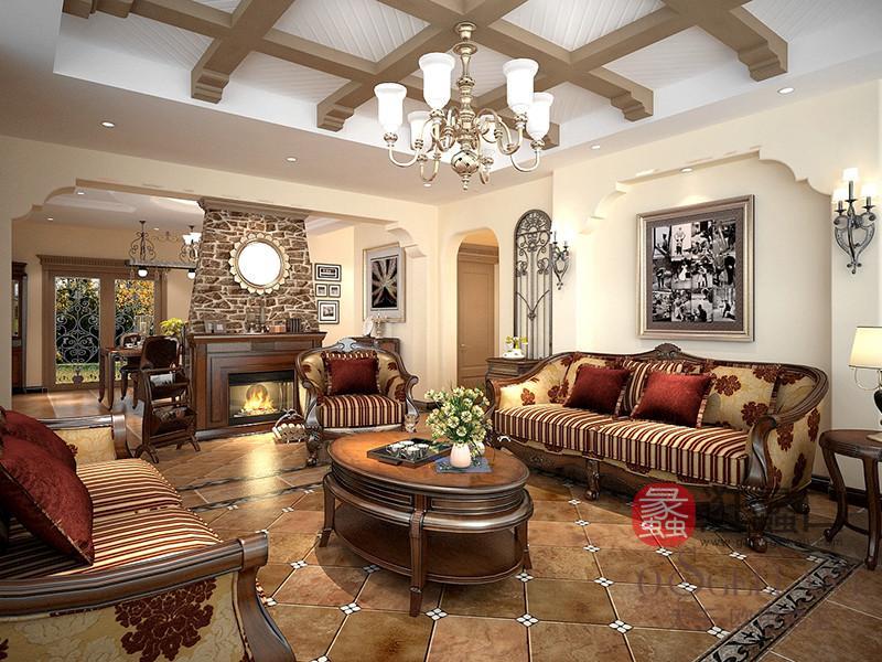 君诺家居·欧思格蓝sbf胜博发美式新古典客厅樱桃木实木单人位+两人位+三人位沙发/茶几