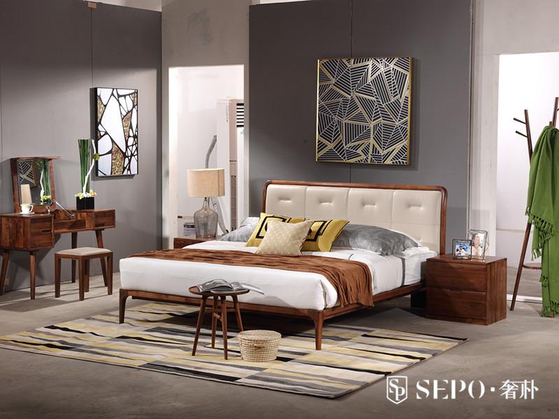 奢朴家具北欧卧室黑胡桃木实木极简双人床+床头柜组合
