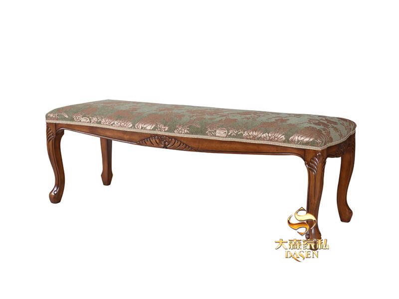 大森家私家具欧式卧室红榉木双人皮床D08-CH 床头柜 床尾凳