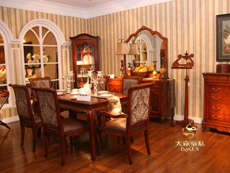大森家私家具简欧餐厅红榉木实木长餐桌椅/一桌六椅