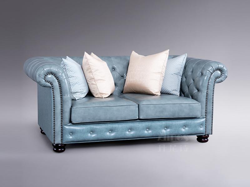 【君诺家居·丹尼诗家具】轻奢客厅实木桃花芯木皮艺双人位沙发
