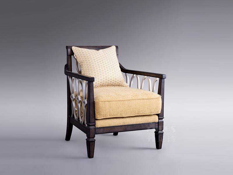 【君诺家居·丹尼诗家具】轻奢客厅实木桃花芯木单人实木布艺沙发/休闲椅