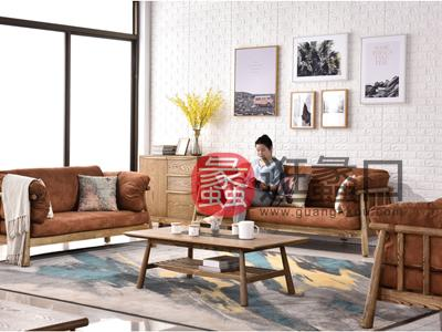 柏斯高域家具北欧实木麂皮绒沙发可拆洗简约水曲柳木蜡油大户型客厅组合家具
