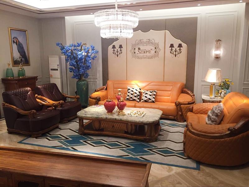 圣美至尊家具欧式经典款客厅实木非洲进口乌金木皮艺双人位/三人位/单人位沙发组合/茶几/角几