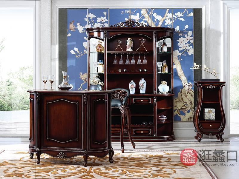 皇家凯萨家具 艾美瑞系列 英式轻奢客厅实木酒柜吧台/吧椅/置物柜