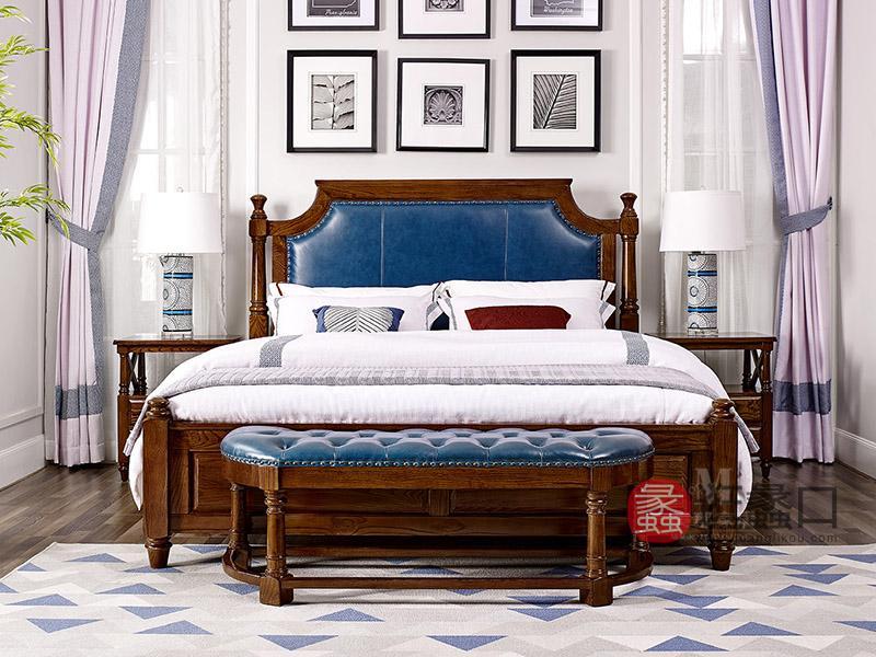 美郡·纯美蓝山家具美式卧室纯实木双人大床W309KA/W409床头柜/W520床尾凳/W509衣帽架