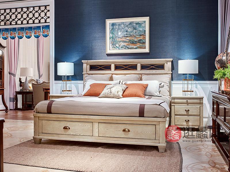 美郡·纯美蓝山家具美式卧室实木双人大床W362K床/W462床头柜