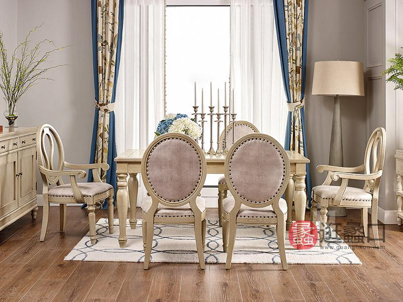 美郡·纯美蓝山家具美式餐厅实木C6601餐台+C6651餐椅+C6651A扶手椅