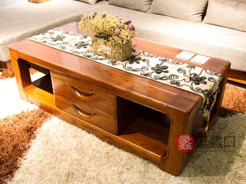 明煌木业·红犀阁家具中式客厅实木红橡木茶几