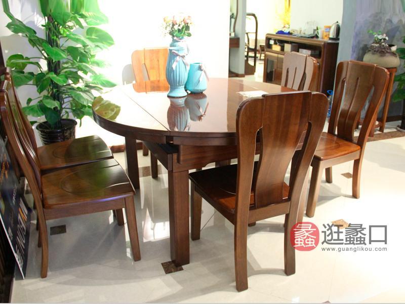 明煌木业·红犀阁家具中式餐厅金丝檀木实木圆餐桌椅