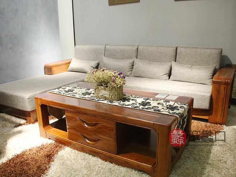 明煌木业·红犀阁家具 现代中式 全实木家居 客厅金丝檀木实木布艺软包转角沙发组合/茶几