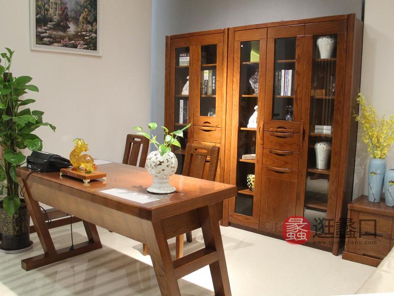 明煌木业·红犀阁家具中式书房实木红橡木书桌椅