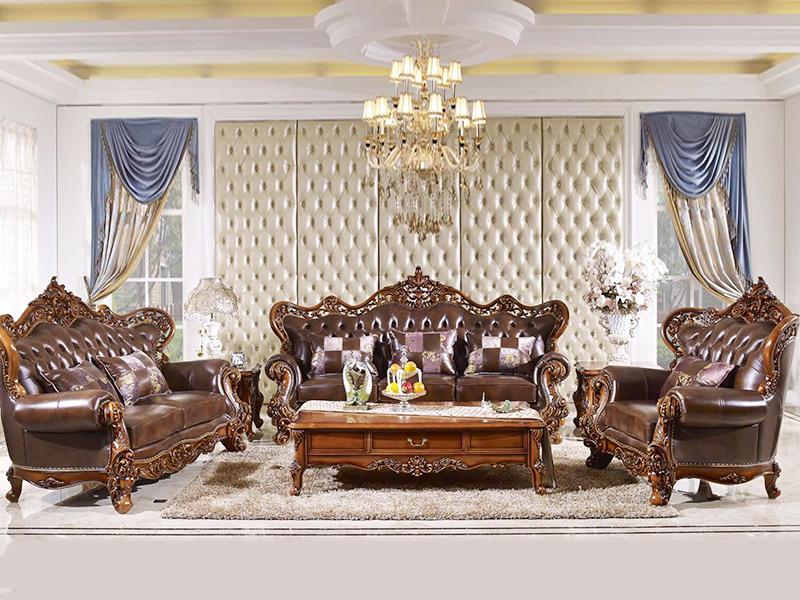 赛维名庭家具欧式客厅实木皮艺双人位/三人位/单人位利发国际组合801/茶几