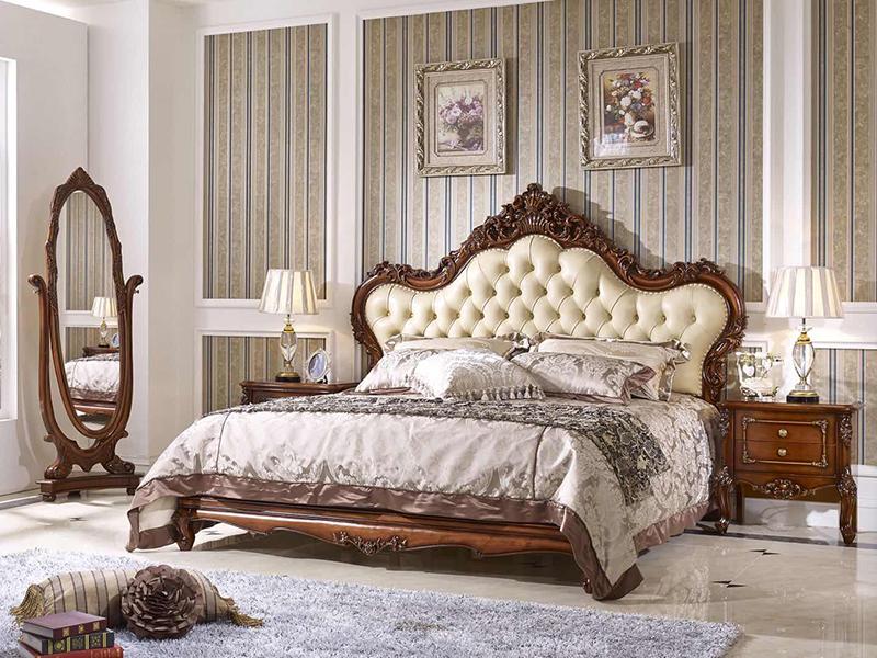 赛维名庭家具欧式卧室实木雕花皮艺软靠双人床/床头柜/婚床/欧式床