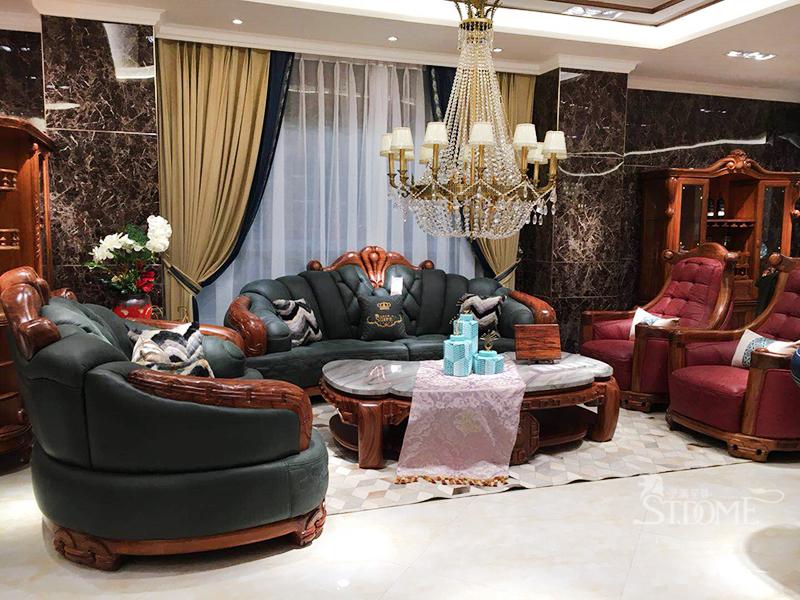 圣美至尊家具欧式客厅实木非洲进口乌金木皮艺多人位/单人位沙发组合/大理石面茶几/复古头层牛皮家具