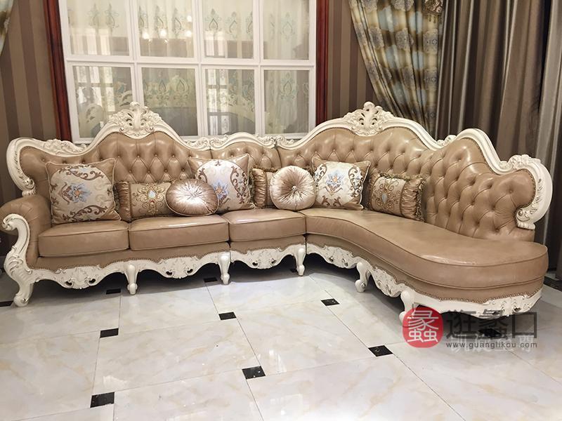 凯旋至尊家具欧式客厅实木浅色转角皮沙发组合/茶几