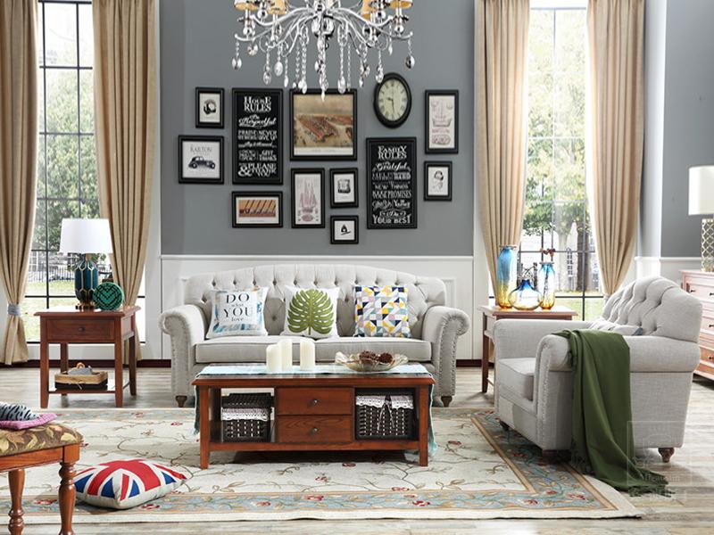 美澳斯丁家具美式客厅白蜡木实木布艺单人位/三人位沙发2566/二抽茶几2202