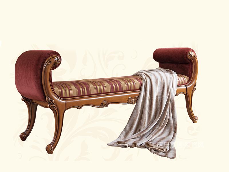 应氏家居·欧宜风 法式新古典卧室实木布艺床尾凳