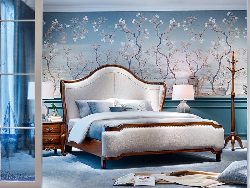 【简美印象·欧尚格家居】美式卧室实木浅色桃花芯木双人床/婚床/床头柜/衣架