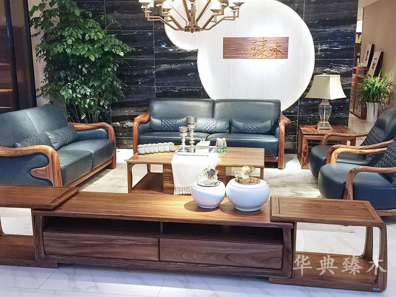 华典清风·欧尚格家居家具华典臻木·欧尚格家居新中式客厅乌金木实木1+2+3皮质软包沙发组合