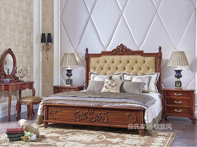 应氏家居·欧宜风 法式卧室实木描金软靠双人大床2060B01GC00/床头柜