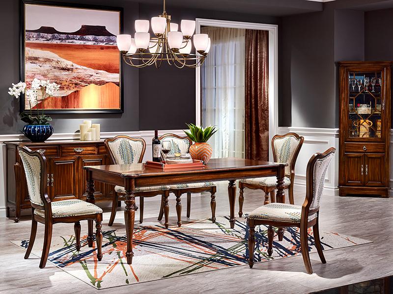 【简美印象·欧尚格家居】美式餐厅橡木实木长餐桌/饭桌/餐椅餐边柜/单门酒柜