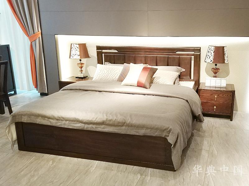 华典中国·欧尚格家居新中式卧室榆木实木双人皮质软靠大床+床头柜组合