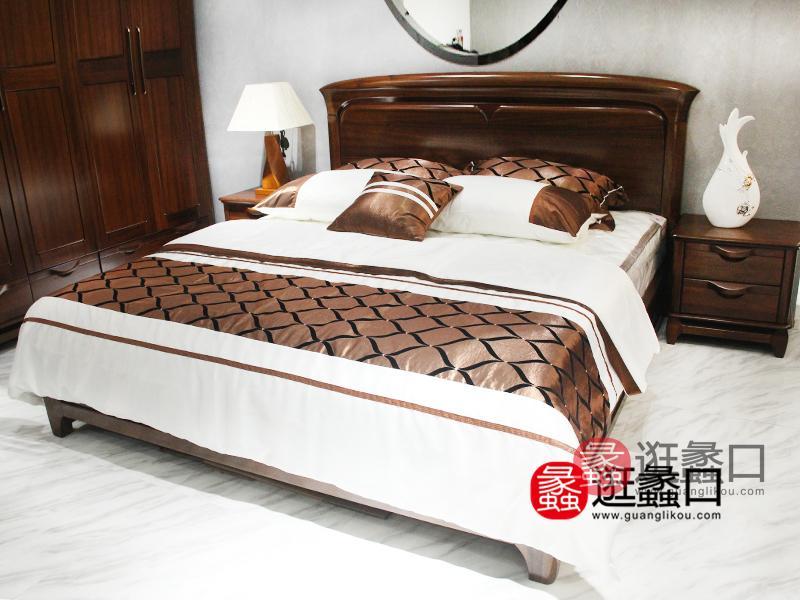 翰亿居家居北欧卧室实木双人大床/婚床/床头柜