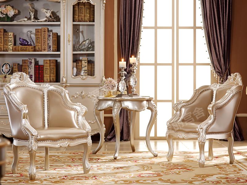 爱丽舍宫家具·爵典家居 欧式卧室实木雕花休闲座/小圆几