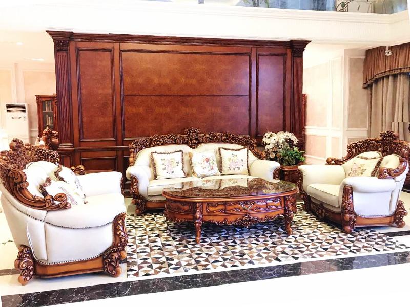 赛维名庭家具欧式卧室实木皮艺软靠双人位/三人位/单人位利发国际组合/茶几