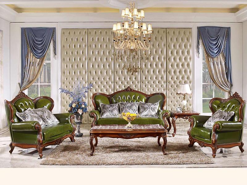 赛维名庭家具欧式卧室实木绿色皮艺软靠双人位/三人位/单人位利发国际组合903/茶几