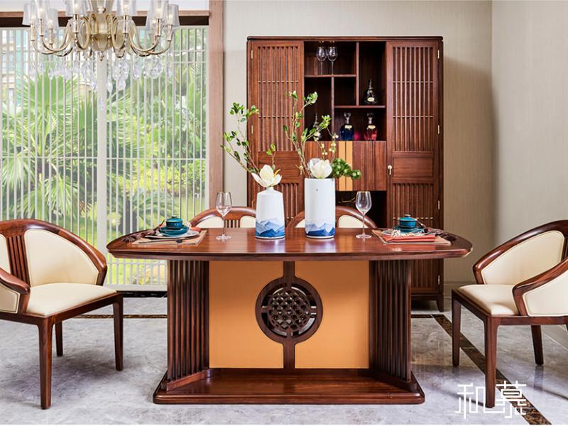 和慕家具新中式书房实木雅致茶台/茶几+椅子组合