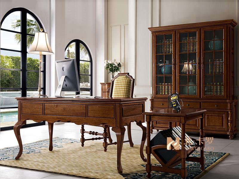 润达名-北卡罗家具美式简美书房胡桃木实木 书桌椅 书柜
