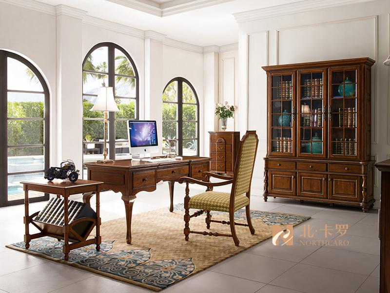 润达名-北卡罗家具美式书房实木胡桃木书桌椅 书椅 书柜