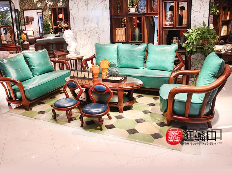 豪威美品家具北欧客厅实木皮艺软靠双人位/三人位/单人位沙发组合/茶几
