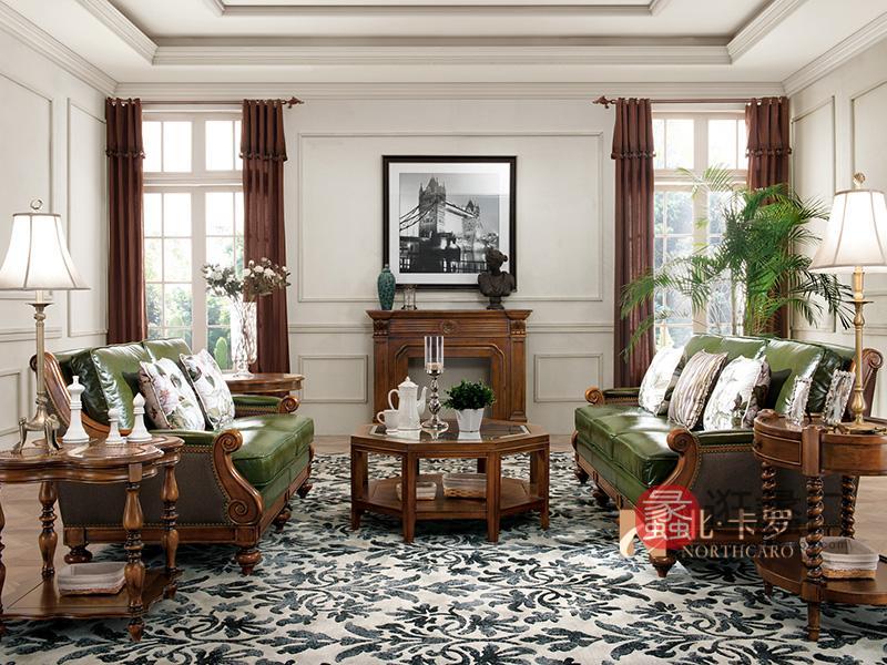 润达名-北卡罗家具美式客厅胡桃木双人位/三人位皮艺实木利发国际
