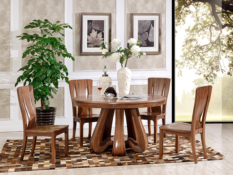 澳凡家具现代中式餐厅南美胡桃纯实木圆餐桌椅/餐椅