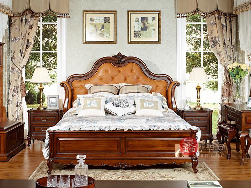 润达名-北卡罗家具美式卧室实木真皮软靠双人大床 床头柜