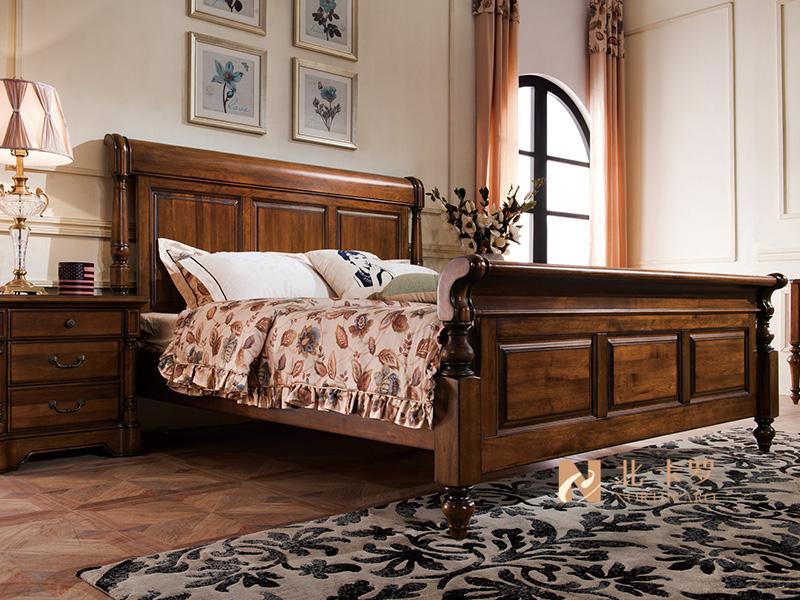 润达名-北卡罗家具美式卧室胡桃木实木双人大床 床头柜